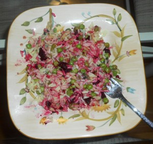 Rice Pilaf mixed with beets