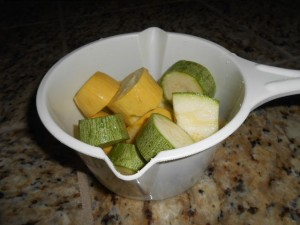 Squash cut into chunks, ready for the microwave