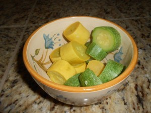 Microwave steamed summer squash, ready to eat