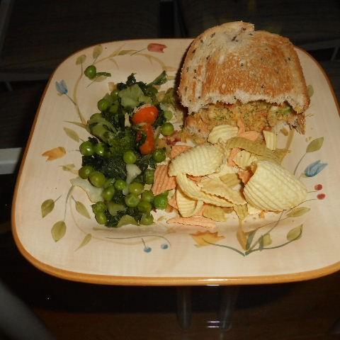 Vegan Garbanzo Burger and Chips make a meal