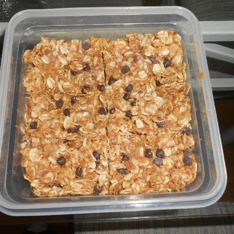 So I gave my sister the smaller container, but don't my vegan peanut butter squares look delicious?