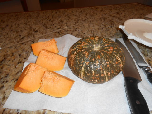 Kabocha looks like a green pumpkin